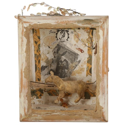 "Katy DeMent Mixed Media Shadowbox Kinetic Sculpture ""The Brayer,"" 2015"