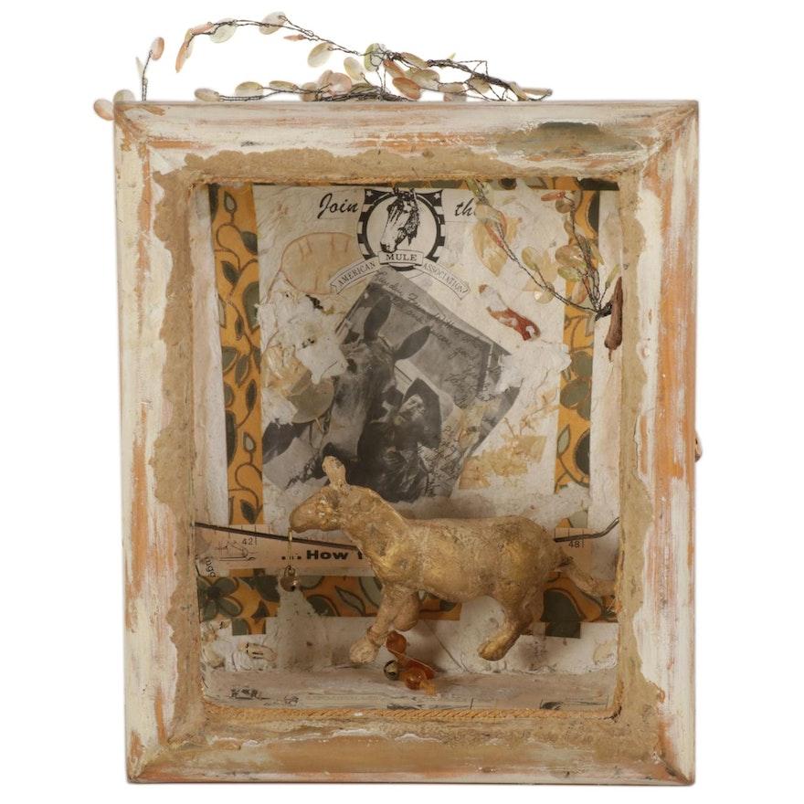 "Katy DeMent Mixed Media Shadowbox Kinetic Sculpture ""The Brayer,"" 2015"