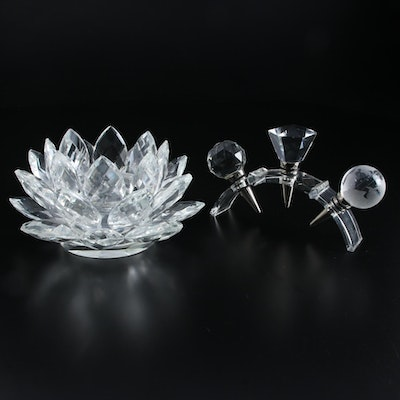 "Shannon ""Lotus"" Crystal Candle Holder and Bottle Stoppers"