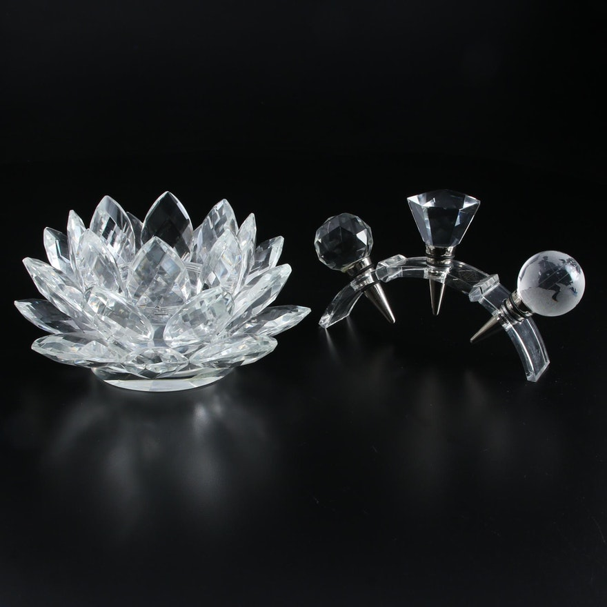 """Shannon """"Lotus"""" Crystal Candle Holder and Bottle Stoppers"""