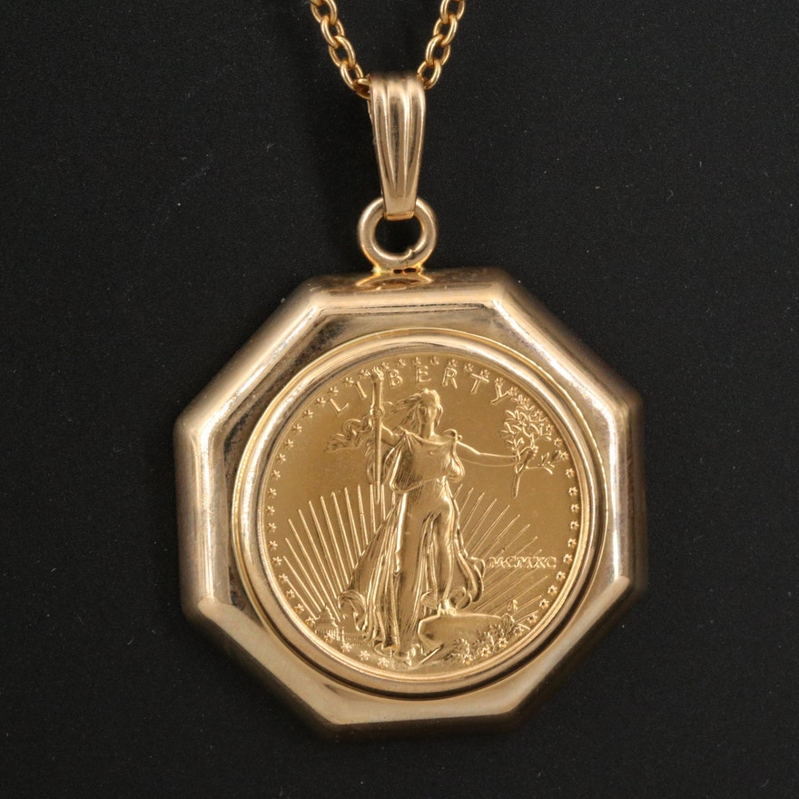 14K Coin Pendant Necklace Featuring 1990 Gold Eagle Bullion Coin