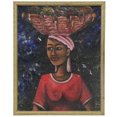 Portrait Oil Painting of Woman Head-Carrying, Mid-Late 20th Century