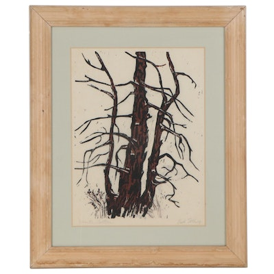 """Ruth Ettling Landscape Woodcut """"Winter Pattern,"""" Mid-Late 20th Century"""