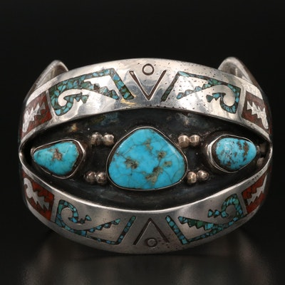 Southwestern Sterling Turquoise and Coral Cuff with Stampwork Accents