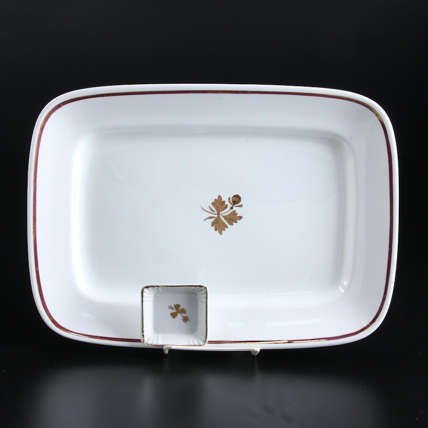Alfred Meakin and Powell & Bishop Tea Leaf Ironstone Platter and Butter Pat