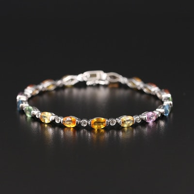 Sterling Sapphire and Topaz Link Bracelet