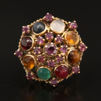 Vintage 14K Bombé Ring Including Ruby, Moonstone, Tiger's Eye and Chalcedony