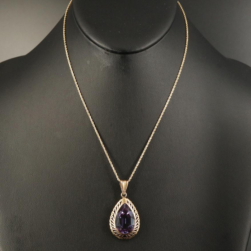 14K Color Change Sapphire Pendant Necklace