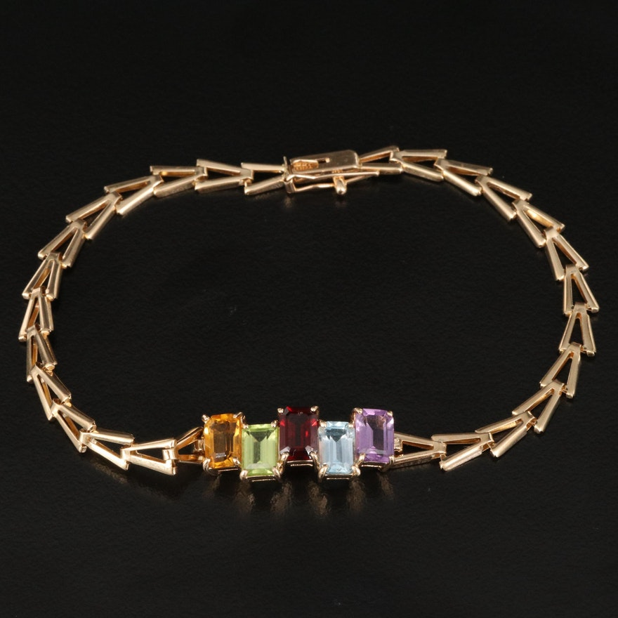 14K Gemstone Link Bracelet