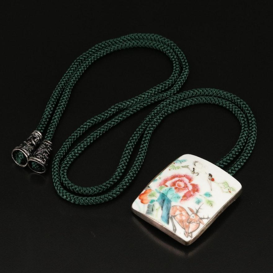 Antique Qing Dynasty Porcelain Shard Slide on Cord Necklace