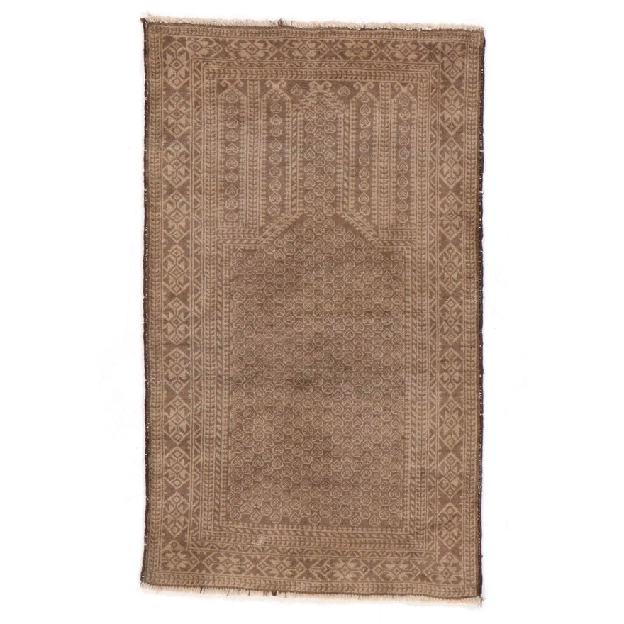 2'11 x 5' Hand-Knotted Afghan Baluch Prayer Rug