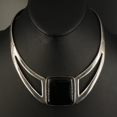Modernist Style Sterling Black Onyx Necklace