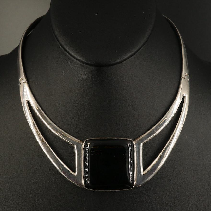 Modernist Style Sterling Black Onyx Necklace