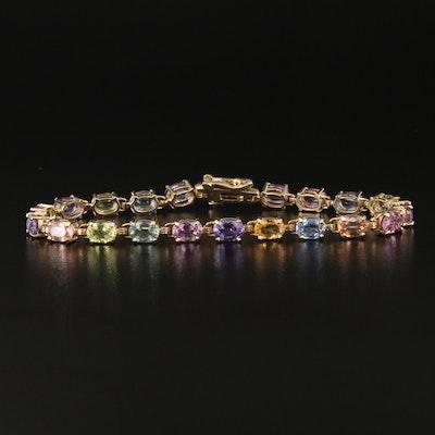 14K Multicolored Sapphire Line Bracelet