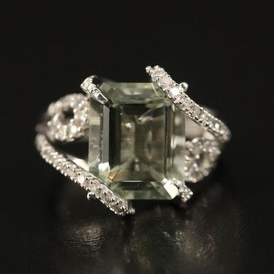 14K Prasiolite and Diamond Swirl Ring
