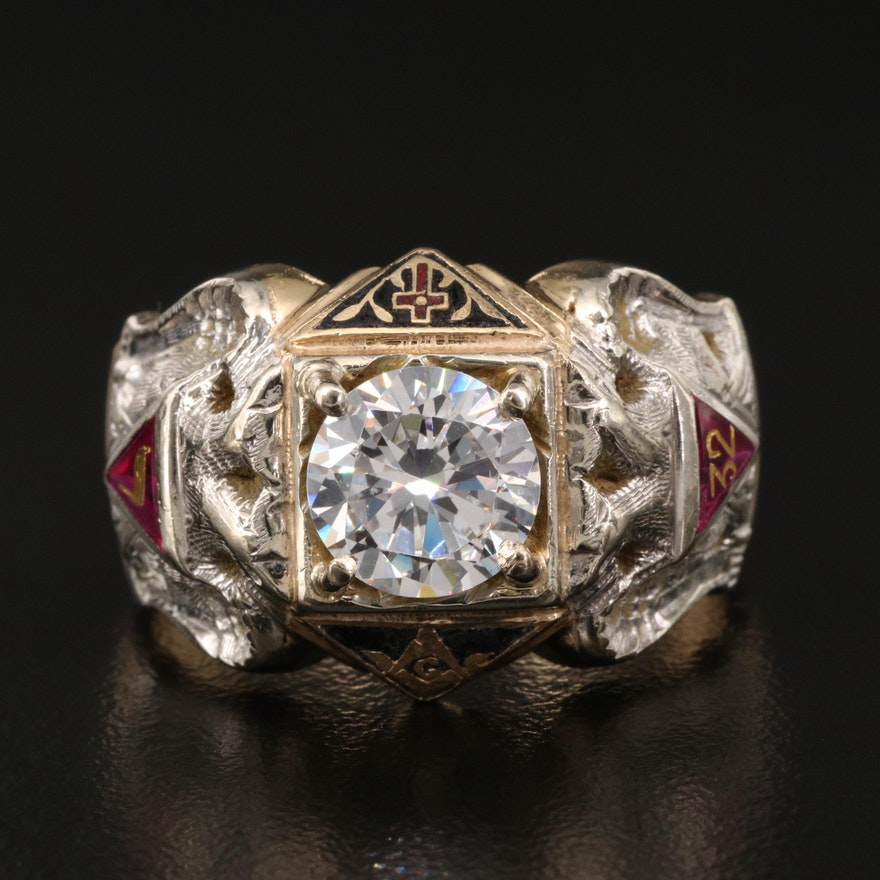 Vintage 14K Cubic Zirconia and Ruby Masonic Scottish Rite Ring