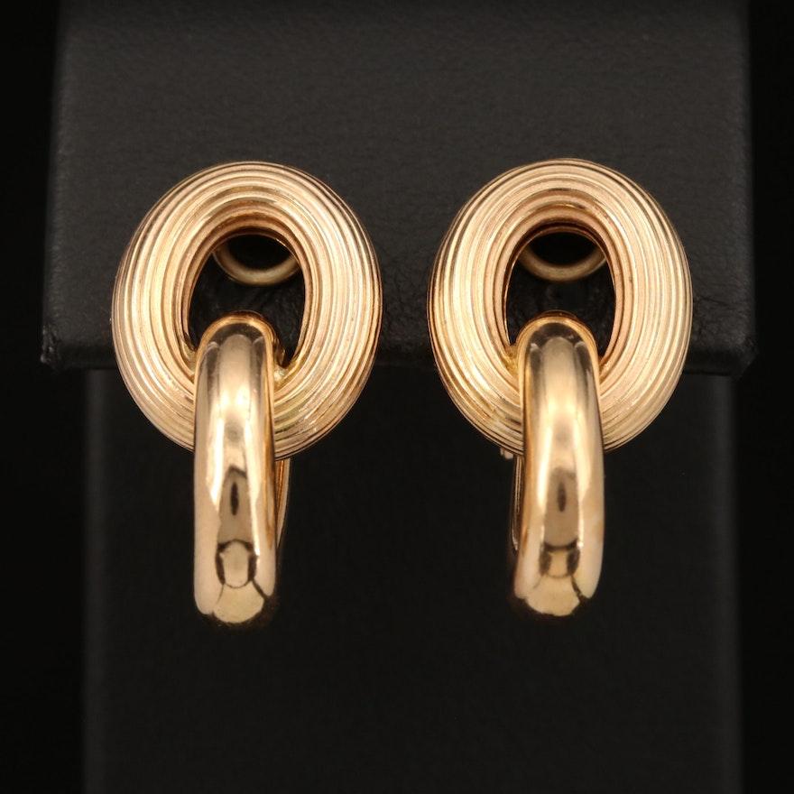 14K Oval Link Clip Earrings