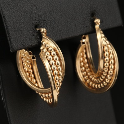 14K Twist Hoop Earrings with Granulated Design