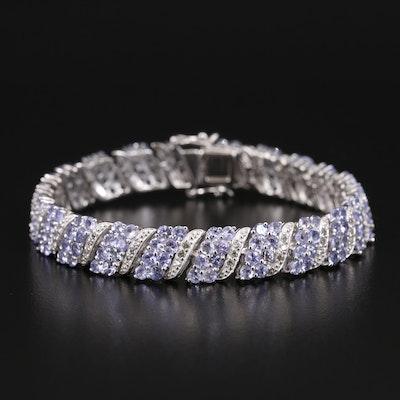 Sterling Tanzanite and Topaz Link Bracelet