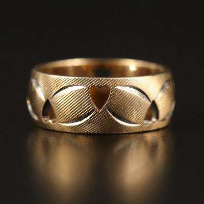 14K Engraved Band with Cut Out Hearts