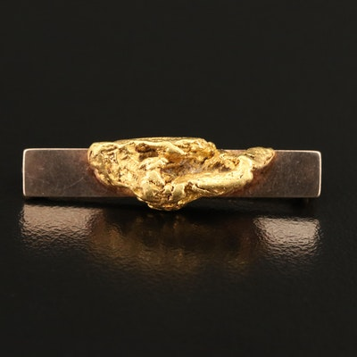 Vintage 10K Native Gold Nugget Bar Brooch
