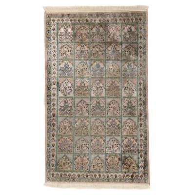 3' x 5'3 Hand-Knotted Indian Kashmir Art Silk Rug, 2000s