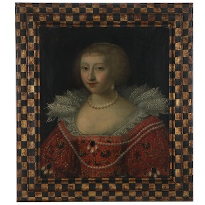 Portrait Oil Painting of a Duchess in the Style of Jean Ducay, 17th Century