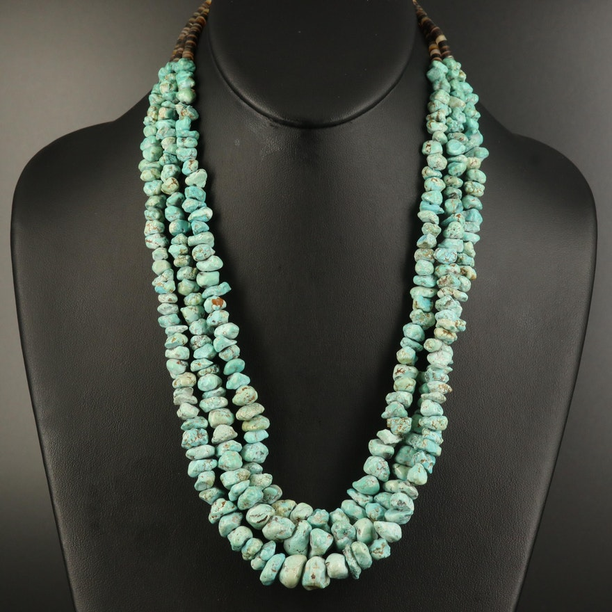 Southwestern Turquoise and Shell Triple Strand Necklace with Sterling Clasp