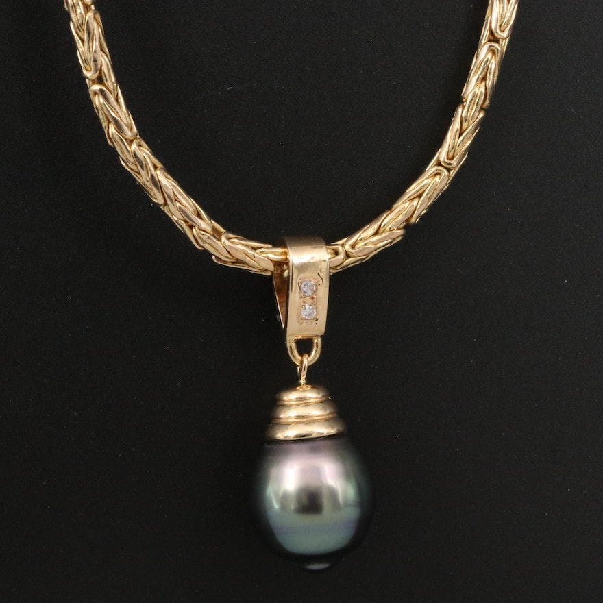 14K Pearl Pendant Necklace Featuring Byzantine Link Chain