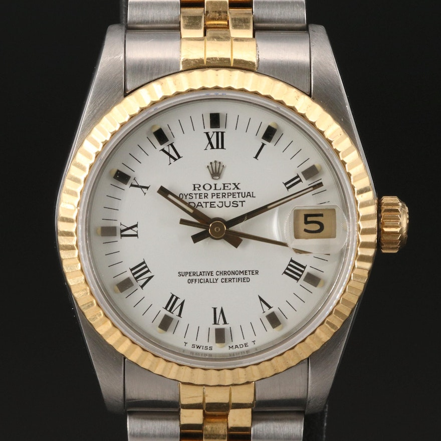 1989 Rolex Datejust Mid-Size 18K and Stainless Steel Automatic Wristwatch
