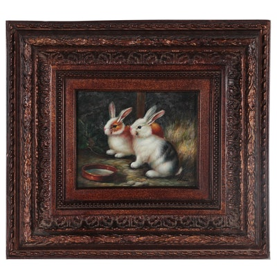 Oil Painting of Rabbits with Water Dish, Late 20th Century