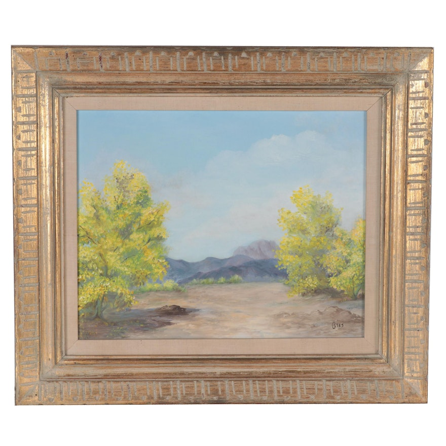 Landscape Oil Painting of Trees with Mountains, Mid-Late 20th Century