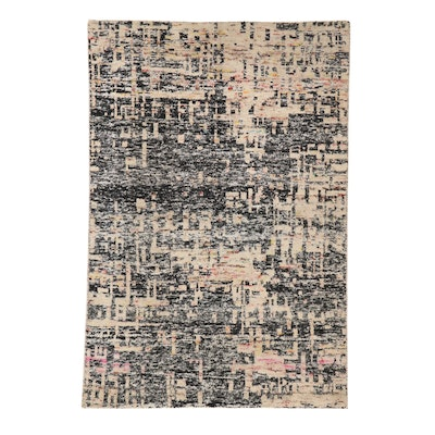 5'5 x 7'11 Hand-Knotted Indian Bamboo Silk Rug, 2010s