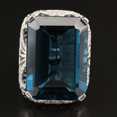 Sterling London Blue Topaz and Zircon Rectangular Ring