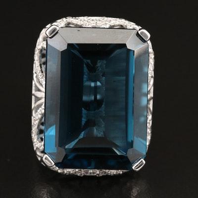 Sterling London Blue Topaz and Zircon Rectangular Ring