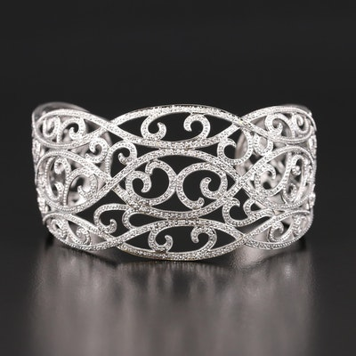 Sterling and Diamond Openwork Scroll Cuff