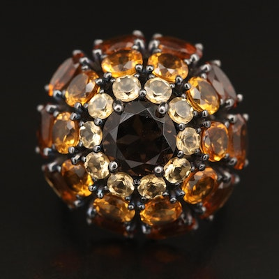 Sterling Smoky Quartz and Citrine Domed Cluster Ring