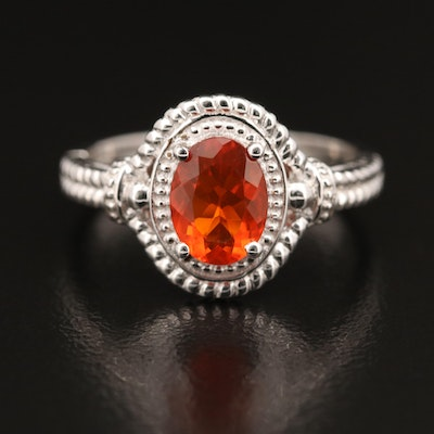 Sterling Fire Opal Ring