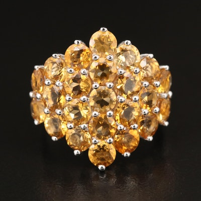 Sterling Citrine Cluster Ring