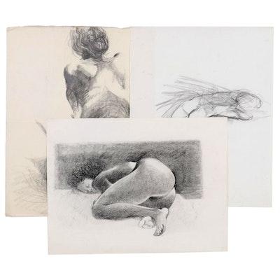 John Tuska Graphite and Charcoal Figure Drawings, Mid to Late 20th Century