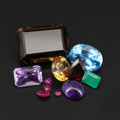 Loose 72.20 CTW Mixed Shape Smoky Quartz, Amethyst, Citrine, Ruby and Emeralds