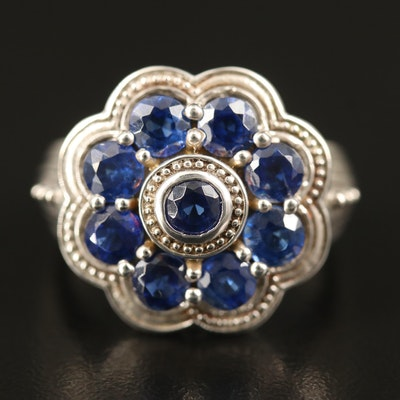 Sterling Kyanite Flower Ring