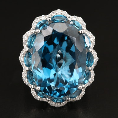Sterling London Blue Topaz and Zircon Ring with Fluted Edge