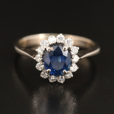 14K 1.62 CT Sapphire and Diamond Halo Ring