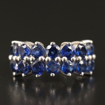 Sterling Kyanite Double Row Ring