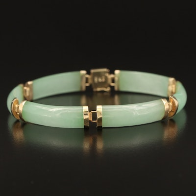 Chinese 14K Curved Jadeite Bar Good Fortune Bracelet