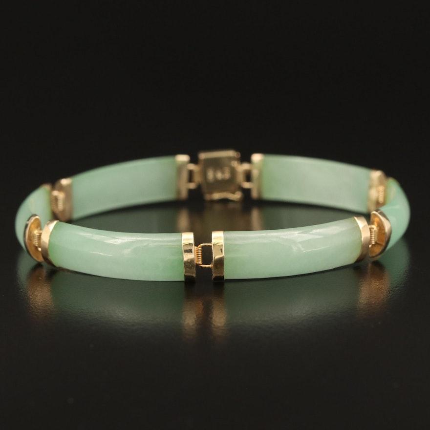 Chinese 14K Curved Jadeite Bar Good Fortune Bracelet
