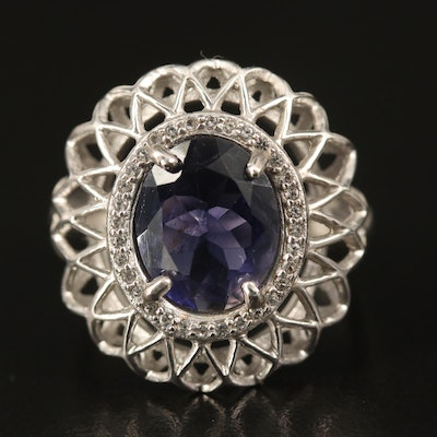 Sterling Iolite and Topaz Latticework Ring