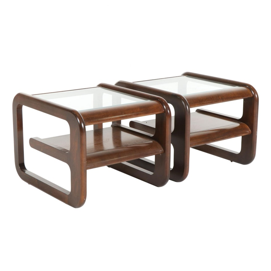Pair of Modernist Walnut-Stained Glass Top End Tables, 1970s