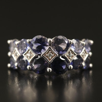 Sterling Tanzanite and Zircon Ring
